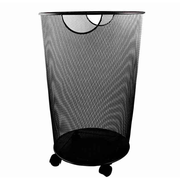 Black Round Hamper With Wheels